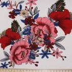 Polyester Bubble Crepe Dress Fabric -  Large Pink & Red Flowers On White